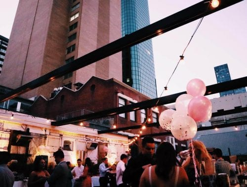 hen's party on a rooftop